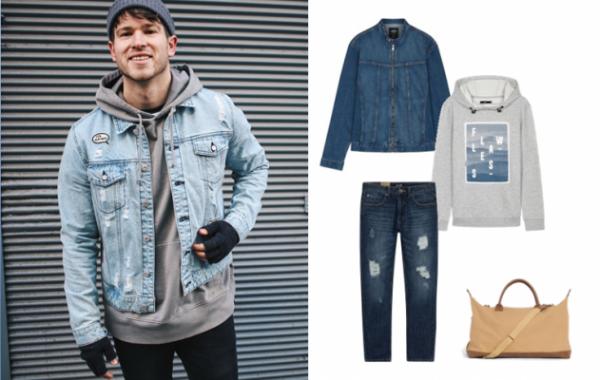 Áo hoodie kết hợp với áo khoác jeans nam