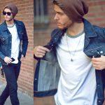 áo thun trắng kết hợp với ao jeans nam cá tính