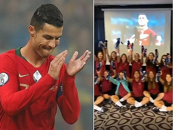 Ronaldo tặng giày cho đội tuyển nữ Bồ Đào Nha