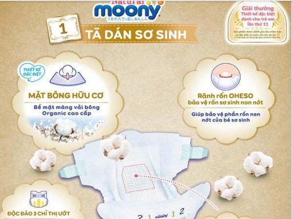 Đặc điểm nổi bật của tã dán Moony